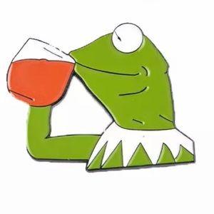 Other - 📍5/$25 Enamel Pin Kermit Frog Sips Tea meme
